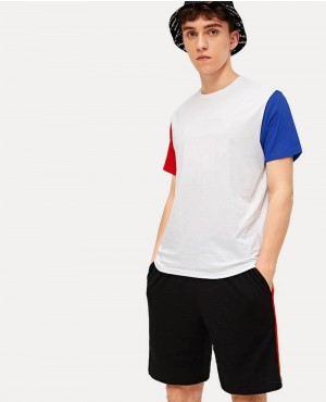 Guys Color Block Sleeve Letter Custom Printed Tee