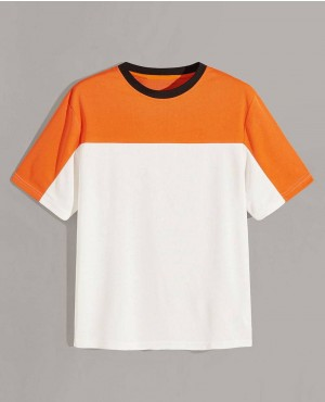 Guys Contrast Neck Cut And Sew Tee