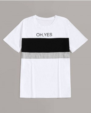 Guys Contrast Panel Slogan Print Tee