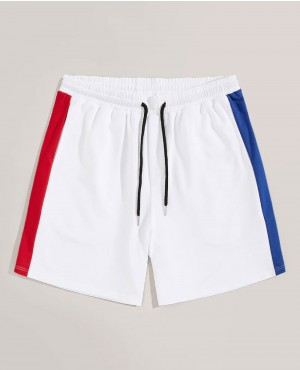 Guys Contrast Sideseam Embroidered Letter Shorts