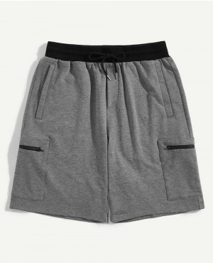 Guys Contrast Waist Multi Pocket Heather Knit Sweat Shorts