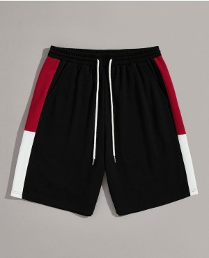 Guys Cut And Sew Slant Pocket Drawstring Waist Shorts