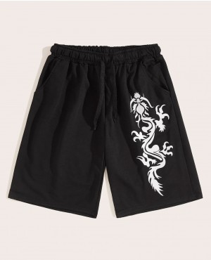 Guys Dragon Print Drawstring Waist Shorts