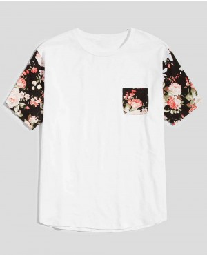 Guys Drop Shoulder Floral Sleeve Pocket Tee