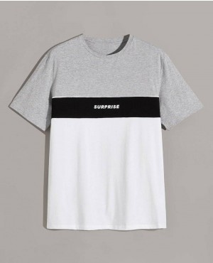 Guys Letter Print Colorblock Heathered Grey Tee
