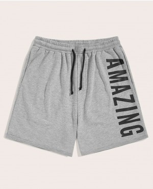 Guys Letter Print Slant Pocket Shorts
