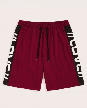 Guys Lettering Side Drawstring Waist Shorts