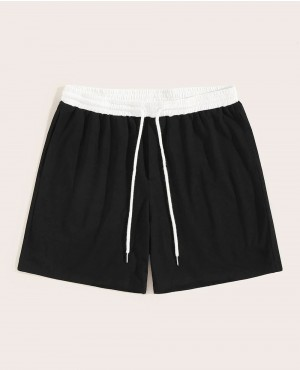 Guys Patched Contrast Drawstring Waist Shorts