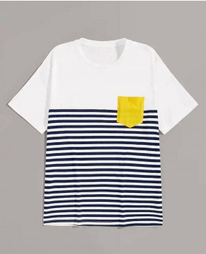 Guys Pocket Patched Striped Tee