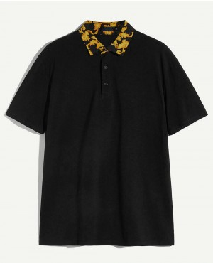Guys Retro Print Collar Polo Shirt