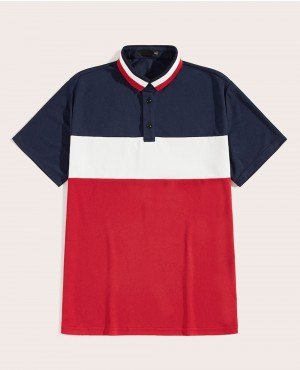 Guys Striped Collar Colorblock Polo Shirt