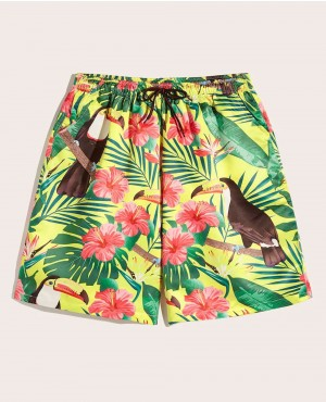 Guys Tropical & Bird Print Drawstring Bermuda Shorts