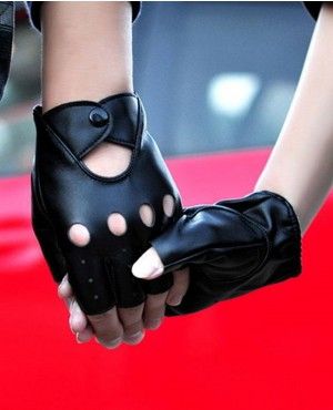 Half Finger Gloves Biker Driving Leather Gloves