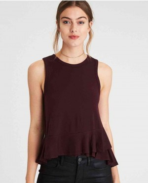 High Neck Double Ruffle Hem Tank Top