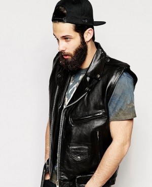 High Quality Custom Design Genuine Leather Sleeveless Vest