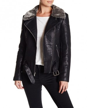 High Quality Faux Leather Jacket with Faux Fur Collar