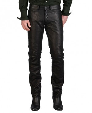 High Quality Leather Men Pants with Button Closure