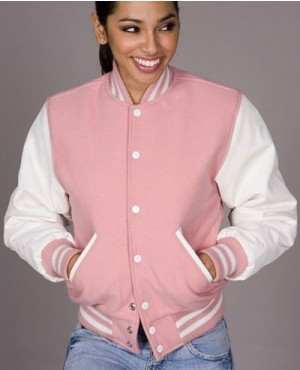 High Quality Pink Varsity Letterman Women Jacket