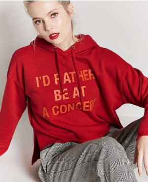 High Quality Women Short Hoodie In Red Color