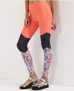 High Waist Rubex Lycra Panel Detail Long Leggings