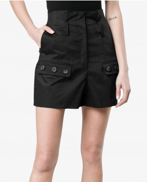 High Waisted Cargo Shorts Black