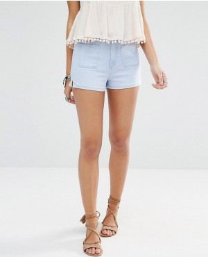 High Waisted Pocket Front Denim Short