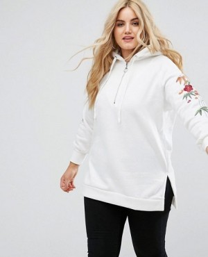 Hoodie With Half Zip And Custom Floral Embroidery