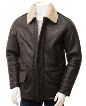 Hot Selling Men Leather Shearling Jacket