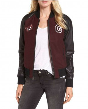 Hot Selling Women Burgundy Bomber Varsity Jacket