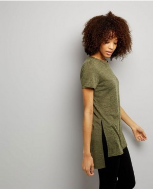 Hot Selling Women Khaki Split Side Longline T Shirt