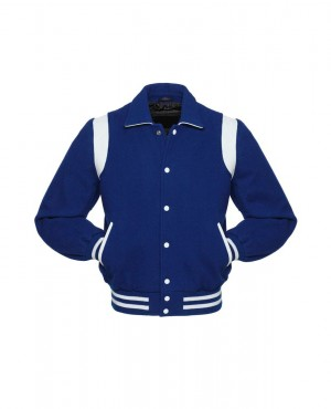 Hot Selling Women Royal Blue & White Varsity Jackets