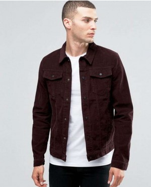 Collar Jacket In Dark Burgundy