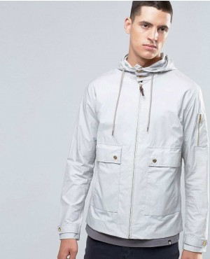 Jacket With Hood Showerproof In Slim Fit Grey