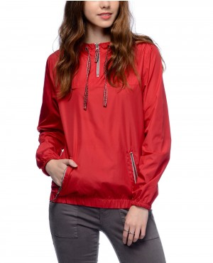Jacquard Drawstring Red Pullover Windbreaker Jacket
