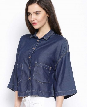 Jeans Cropped Shirts with Pockets for Women