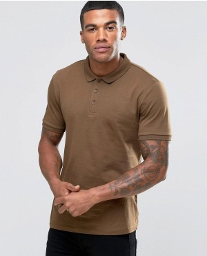 Jersey Polo Shirt In Brown