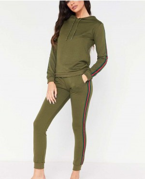 Khaki Side Stripe Pullover Hooded Custom Tracksuit