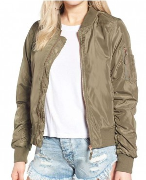 Khaki Side Zipper Bomber Varsity Jacket