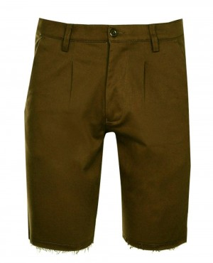 Khaki Skinny Fit Raw Edge Chino Short