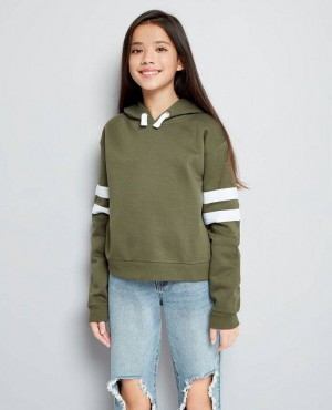 Khaki Stripe Sleeve Hoodie