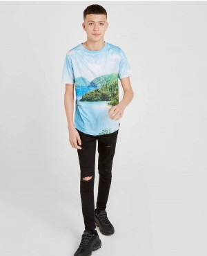Kids Custom Sublimation Curved Hem Short Sleeve T Shirts