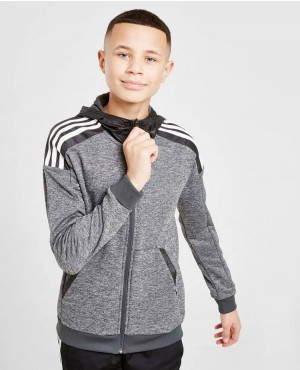 Kids Full Zipper Hoodies Black And White Stripes Up Sleeve Gym Fitted Hoodies