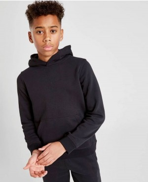 Kids Sweater Hoodie Ribbed Sleeve Cuffs Black Pullover Hoodie For Boys