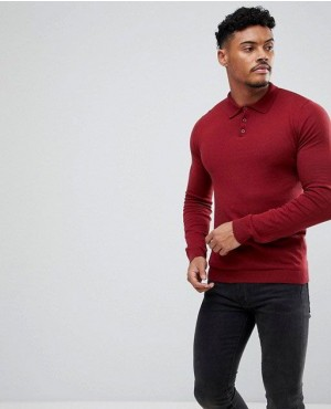 Knitted Muscles Fit Polo In Burgundy