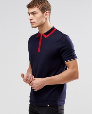 Knitted Polo With Zip Neck