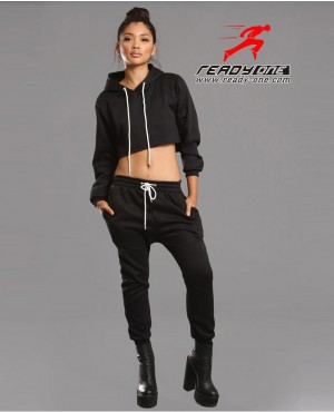 Ladies Black Sweatsuit
