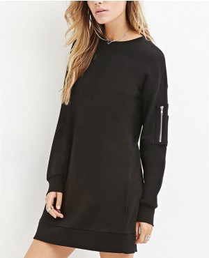 Ladies Elongated Sweatshirt with Sleeve Pocket