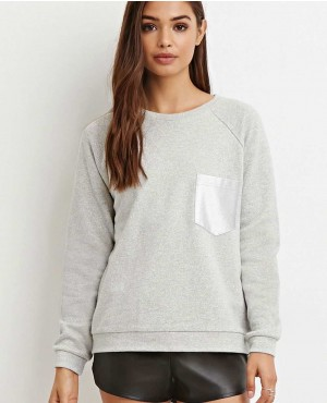 Ladies Heather Grey Crew Neck Best Selling Sweatshirt