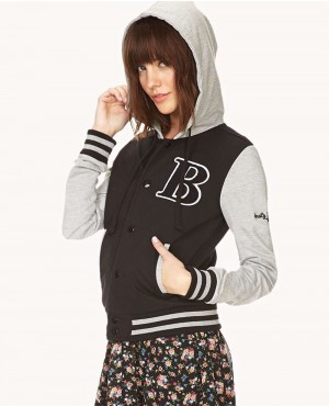 Ladies Hooded Varsity Jacket with Custom Patch on Front