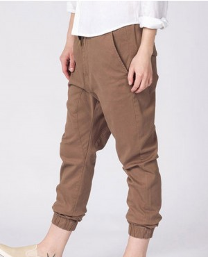 Ladies Khaki Cotton Sweatpant